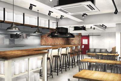 アウトドアブランド『CHUMS』を展開する当社が、新たな挑戦として社員食堂を手がけます!※完成予想図
