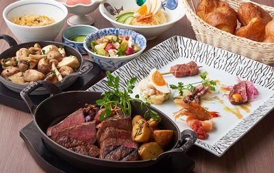 シェフが豪快に焼き上げる「網焼き」をはじめ、自慢の肉料理を豊富にラインナップ!