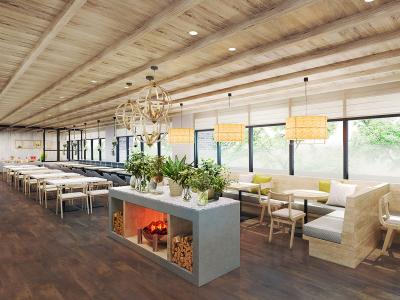 レストランのイメージ図です。広い窓から陽の光が入り、明るく解放感あるスペースになる予定です。