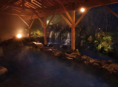木々の緑と川のせせらぎに囲まれた大型露天風呂やサウナ、ジャグジー、桧風呂などが完備されたホテル。