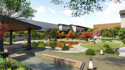 """""""安土桃山時代の町並みが現代にタイムスリップしてやってきた""""がコンセプトのテーマパーク型温浴施設。"""