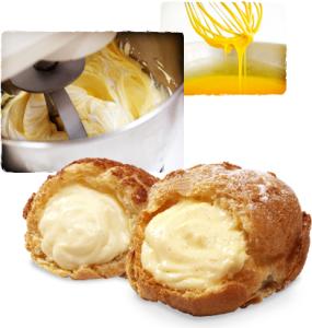 厳選された国産の卵と牛乳で作るカスタードクリームは、手作業で卵にたっぷりと空気を含ませています。