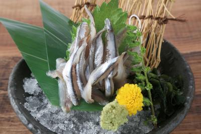 瀬戸内産小いわしの刺身。新鮮な魚介を存分に楽しめる自慢のお店です。