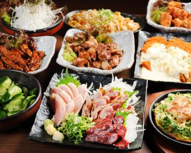 ぢどり亭名物「もも炭火焼」、「チキン南蛮フライ」や「鶏のお刺身」など、九州は薩摩、本場の味をお届け。
