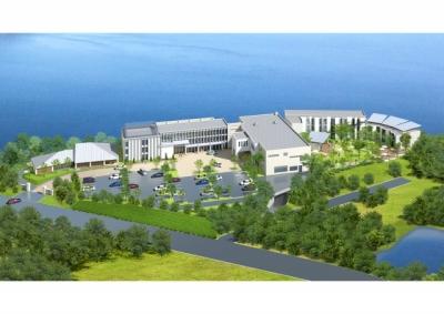 ホテルの外観イメージ図。現在プレオープン中ですが、既存の施設に加えて客室とバイキング会場を増設します