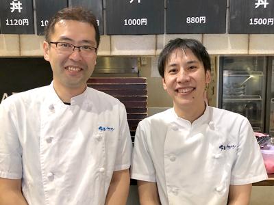 本店の内山店長(左)、常務取締役の吉田です。一緒にお店を盛り立てていきましょう!