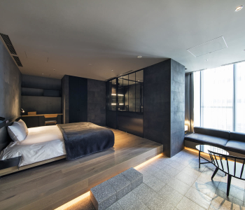 ゲストルームは、日本の伝統文化の象徴である「茶室」をイメージ。