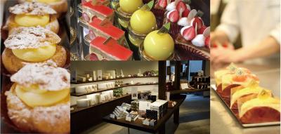 店内では、和洋さまざまなお菓子を販売。カフェスペースでは、釜焼きピッツァなどカフェメニューもご提供。