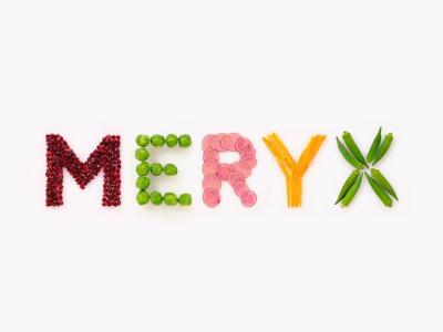 MERYXロゴを食材で表現。口福創造カンパニーとして、お客様の「おいしいしあわせ」を追求しています。