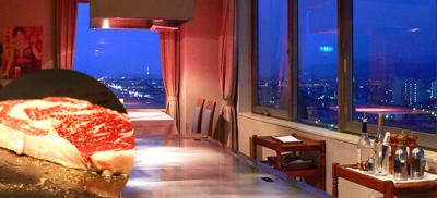 和食レストランでは、黒毛和牛やシーフードの鉄板焼きメニューをコースにて提供。