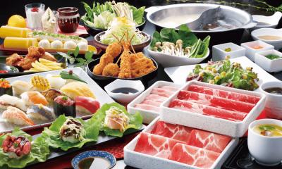 しゃぶしゃぶ&お寿司の食べ放題コースメニューも充実◎