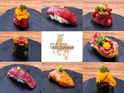 定番部位~希少部位まで豊富な種類の馬刺し、 寿司、ユッケ等が食べれる肉バルです(タテガミ四日市店)