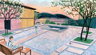 「箱根・強羅 佳ら久」に予定されている「水が流れるテラス」のイメージ。