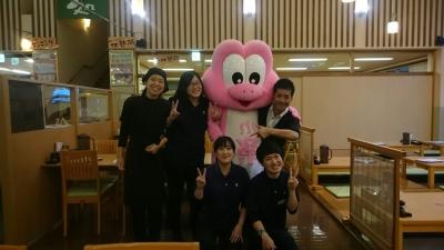 楽の湯キャラクターの「楽太郎くん」とも楽しく仕事ができます。みんな仲間!!