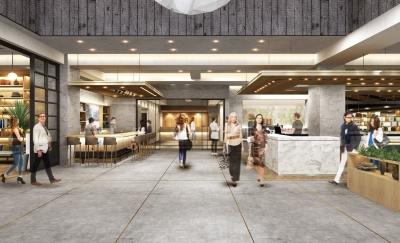 新たなライフスタイルホテルとして、宿泊客と地元住民が交流できるロビーを設けます