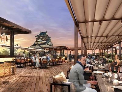 屋上レストランでは、大阪城を眺めながらお食事をお楽し見いただけます。